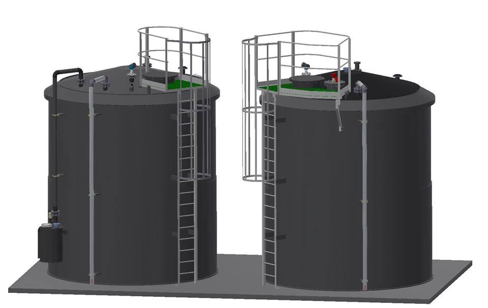 Dvoplaštni rezervoari HCl/NaOH